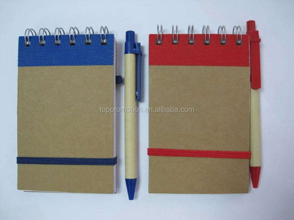 Eco friendly Recycled school note book ,mini spiral paper recycled notebook with ball pen