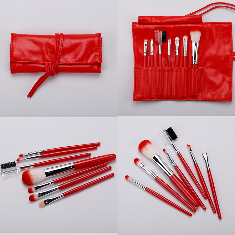 Traditional Style Beautiful Red Makeup Brush Professional Cosmetic Makeup Brush Kits 7pcs