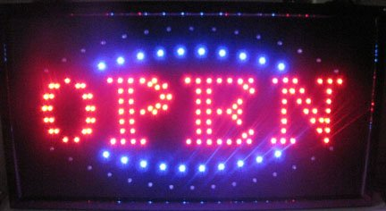 """Jumbo 24"""" x 13"""" LED Neon Sign with Motion - """"OPEN"""" with Blue/Green Tracer (Blue/Green/Red)"""