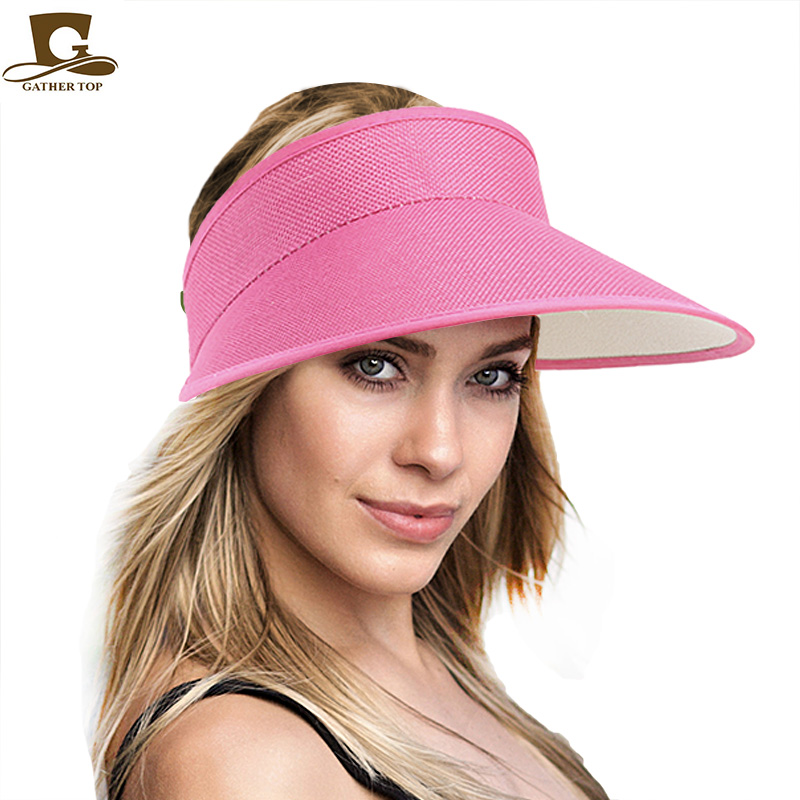 Wholesale Multicolor Women men  Summer UV Protection Wide Brim Beach Golf Cat Visor Sun Hat KDM-11