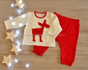 Deer Christmas pictures winter kids clothes sets baby clothing