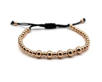 a3de216704cb 2016 hombres pulseras 4mm oro redondo perlas trenzado Macrame pulsera para  los hombres y las mujeres