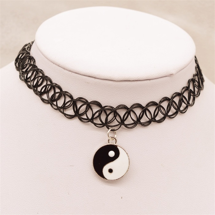 New-designed Pendant Necklaces Eight Diagrams Yin Yang Black and White black Lace Long Leather Chain collar Necklace