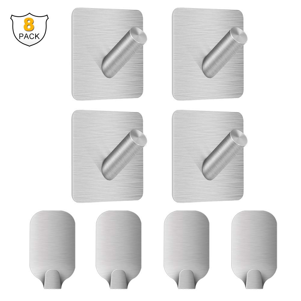 UCAS 8PCS 3M Adhesive Hooks Stainless Steel Towel Hook with Heavy Duty Wall Mounted Coat Hooks for Kitchen Bathroom Garage