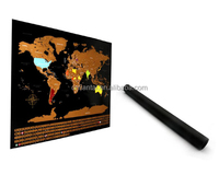 Customized Design deluxe Black Scratch Off World Map