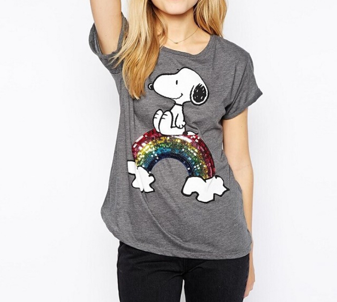 Rainbow Sequins T-shirts Women Cartoon Dog Print T Shirt Women Loose grey Tops Short Sleeve Round Collar 2015 Casual Spring tees