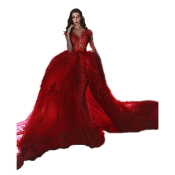 c8b7b34ad6c Sexy Red Evening Dresses 2018 Luxury Mermaid Prom Dress Wedding Party Gowns  with Removable Train