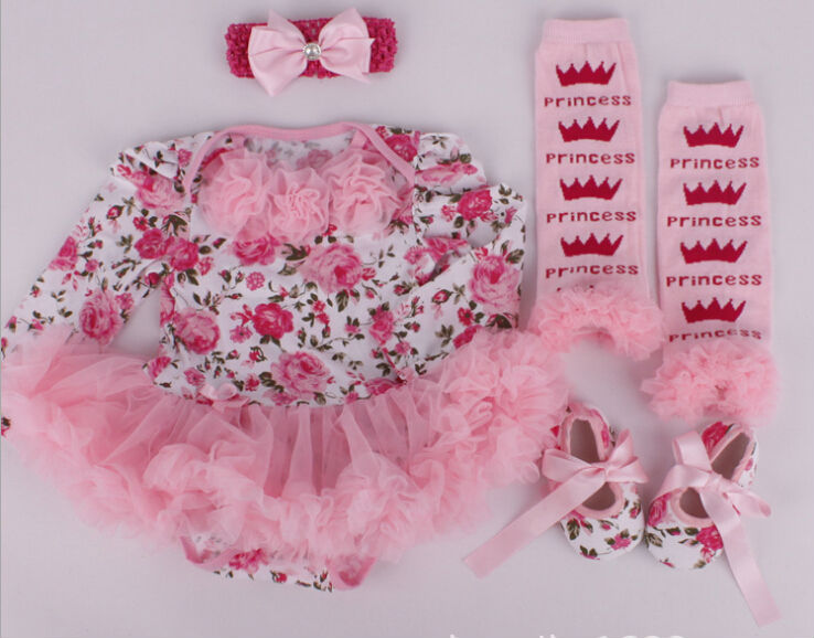 C83995A Baby floral Christmas clothing sets romper,Infant baby pretty Chirstmas romper with shoes