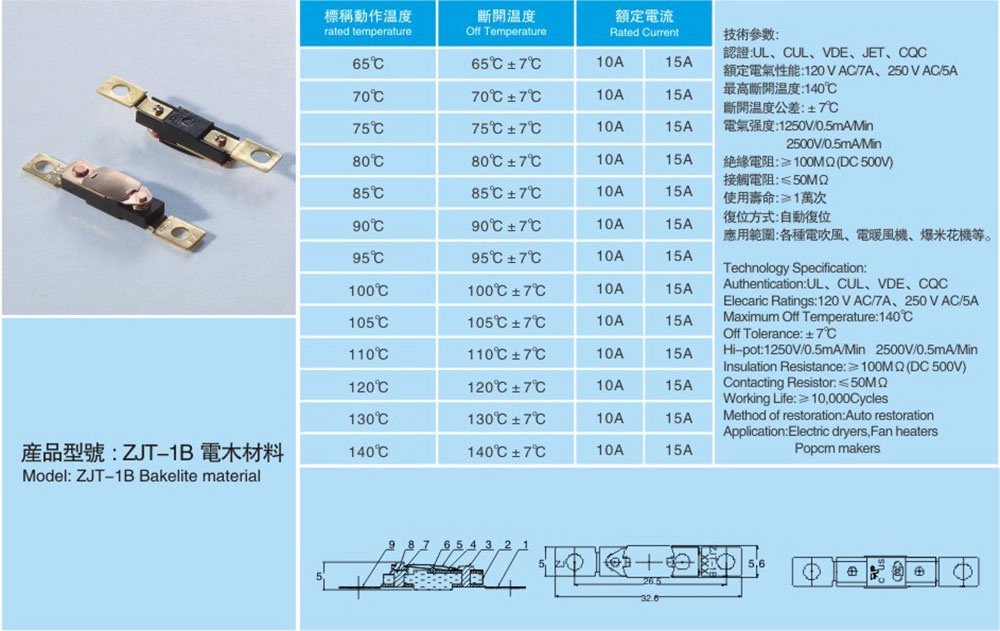 HANA electric heater thermal switch 125V 15 A high temperature limit switch