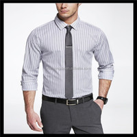 best selling office uniform design dress striped mens rayon polyester shirt with tie