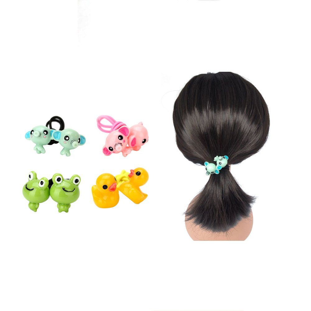 Get Quotations · Toddler Girls Elephant Frog Duck Cartoon Ponytail Holder  Cartoon Animal Hair Rope Kids Childrens Girls Elastic f5f52a8e475