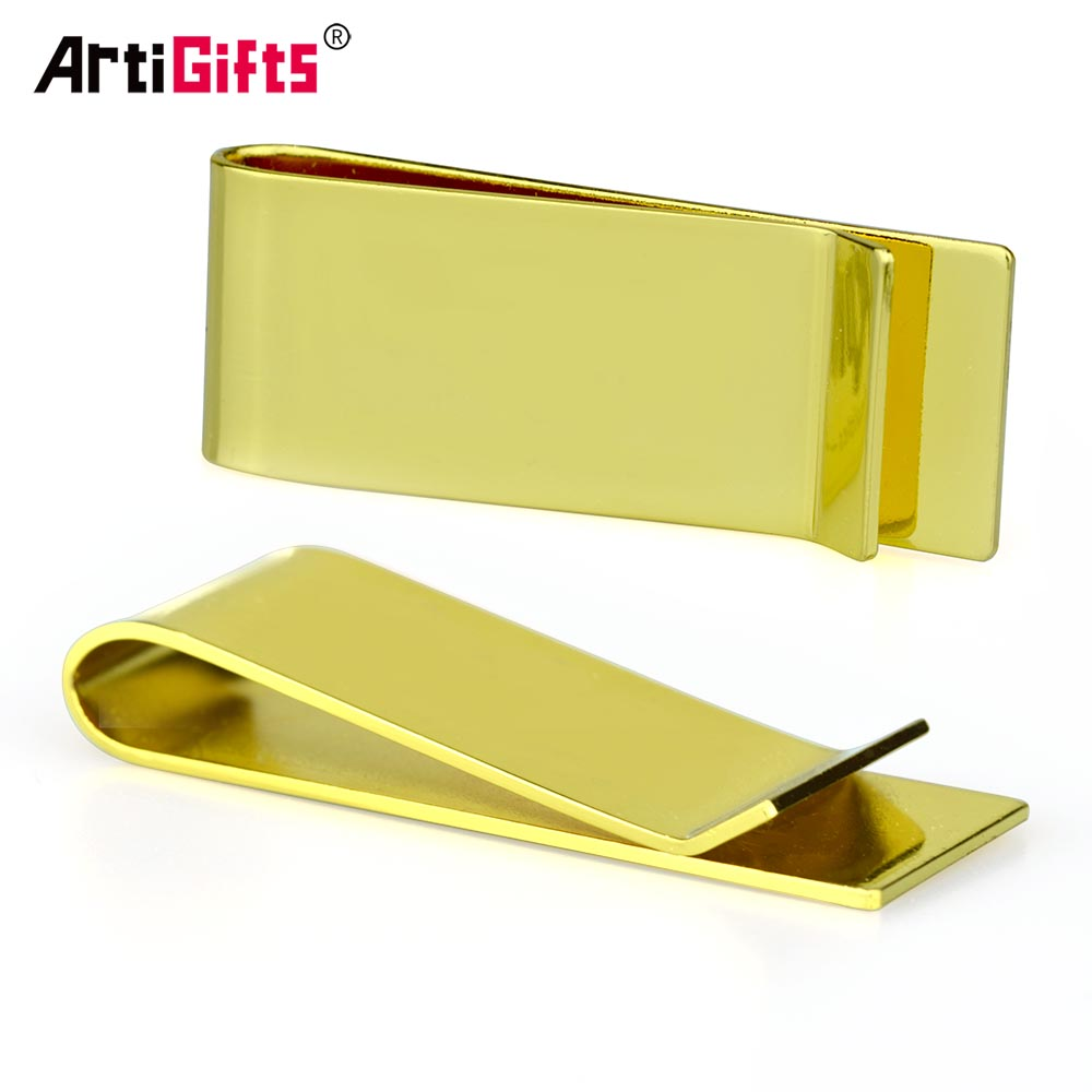Fancy Mens Wallet Metal Clip Gold Slim Aluminum Money Clip Custom Brand Logo