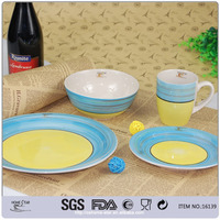 16 pcs stoneware dinner set handpainted
