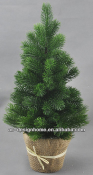 Green Artificial Plastic Pine Tree W 80 Tips On Burlap Planter Buy