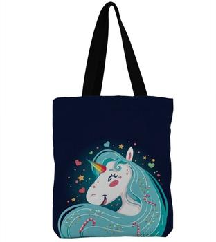 8b6aa2d3d Women Shoulder Bags Female Canvas Tote Handbag Designer Cartoon Unicorn  Printed