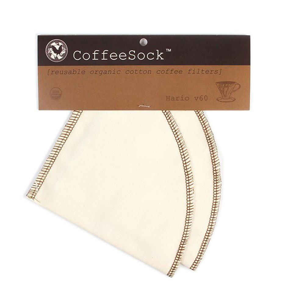 CoffeeSock Reusable Filters Made To Fit Hario v60-02 Style - GOTS Certified Organic Cotton Reusable Coffee Filters (V60-02)