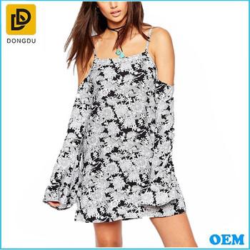 434cd4d96b 2016 nueva moda de verano desgaste hermoso casual frío hombro slip gasa vestidos  para adolescentes