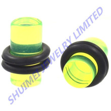 Acrylic Light Green Solid Ear Taper Plug w/ O-Ring (8g-00g) Piercing Body Jewelry