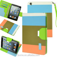 Blue/Brown/Orange Hybrid PU Leather Wallet Magnet Flip Stand Case For Apple iPad Mini