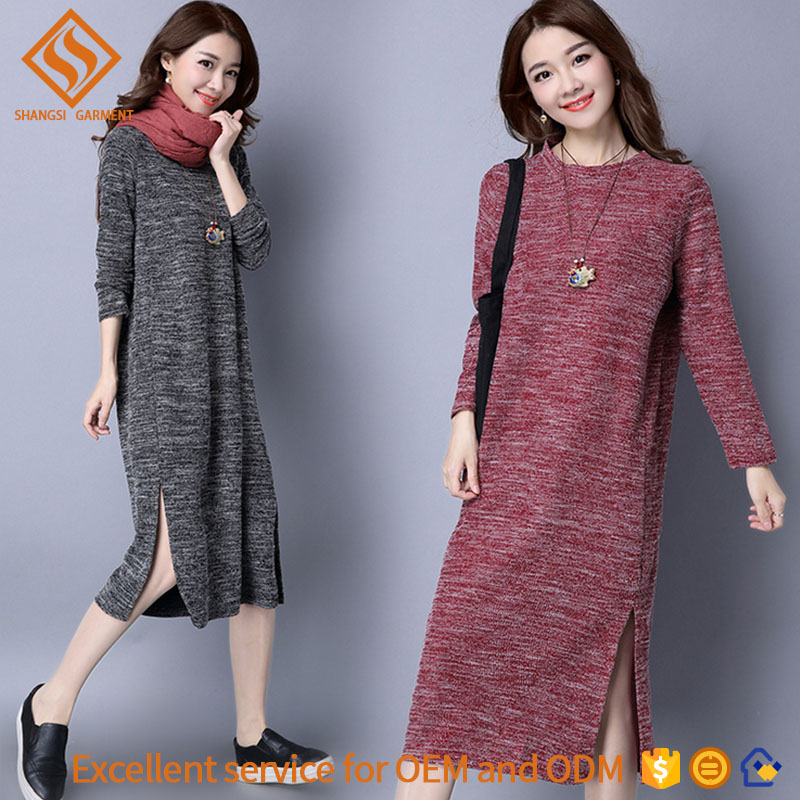 2017 automne long pull robe, lidies lâche manches longues col rond robe pull