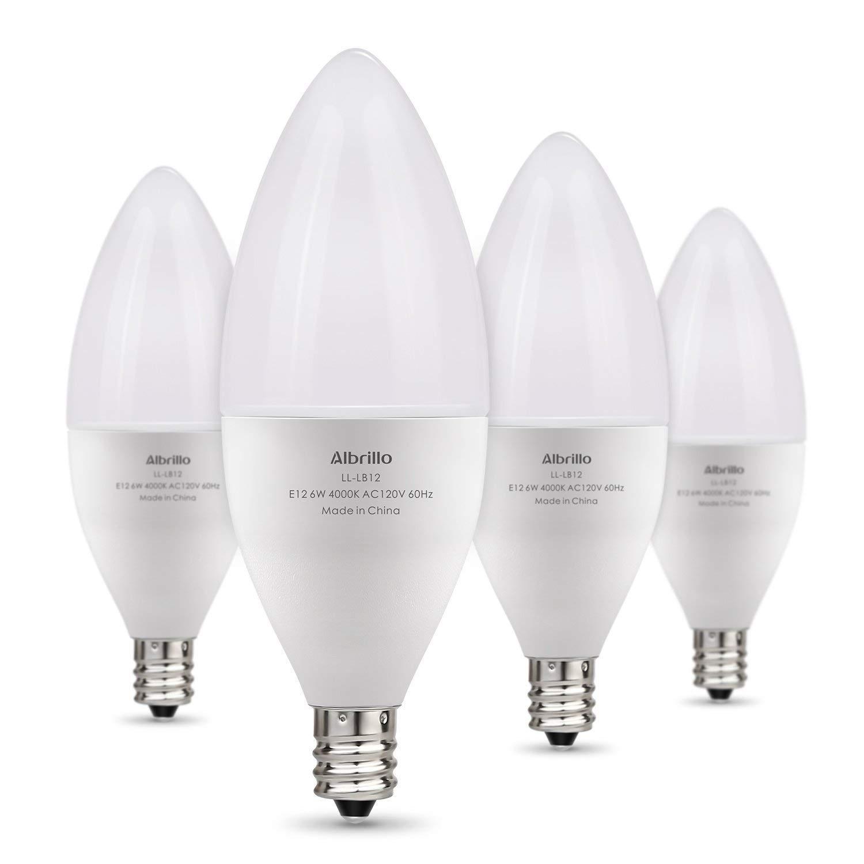 Albrillo E12 LED Bulb, Candelabra LED Bulbs 60 Watt Equivalent, Natural White 4000K Candle Base Chandelier Light Bulbs, Non-Dimmable LED Lamp, 4 Pack