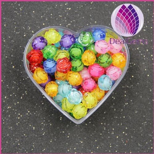 miracle mix color 10mm flower acrylic loose beads