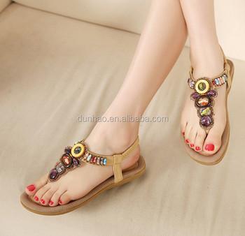 9bf068f6a09 2016 newest fashion jewel stone ankle strip female sandals girl s summer stylish  footwear