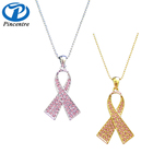 wholesale Pink Ribbon Breast Cancer Awareness Charm , Breast Cancer Necklace
