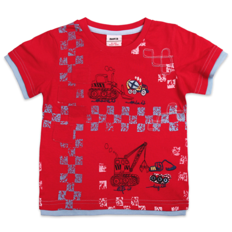2014 new fashion nova kids children clothing printed lovely cars red spring summer short sleeve T-shirt for baby boys