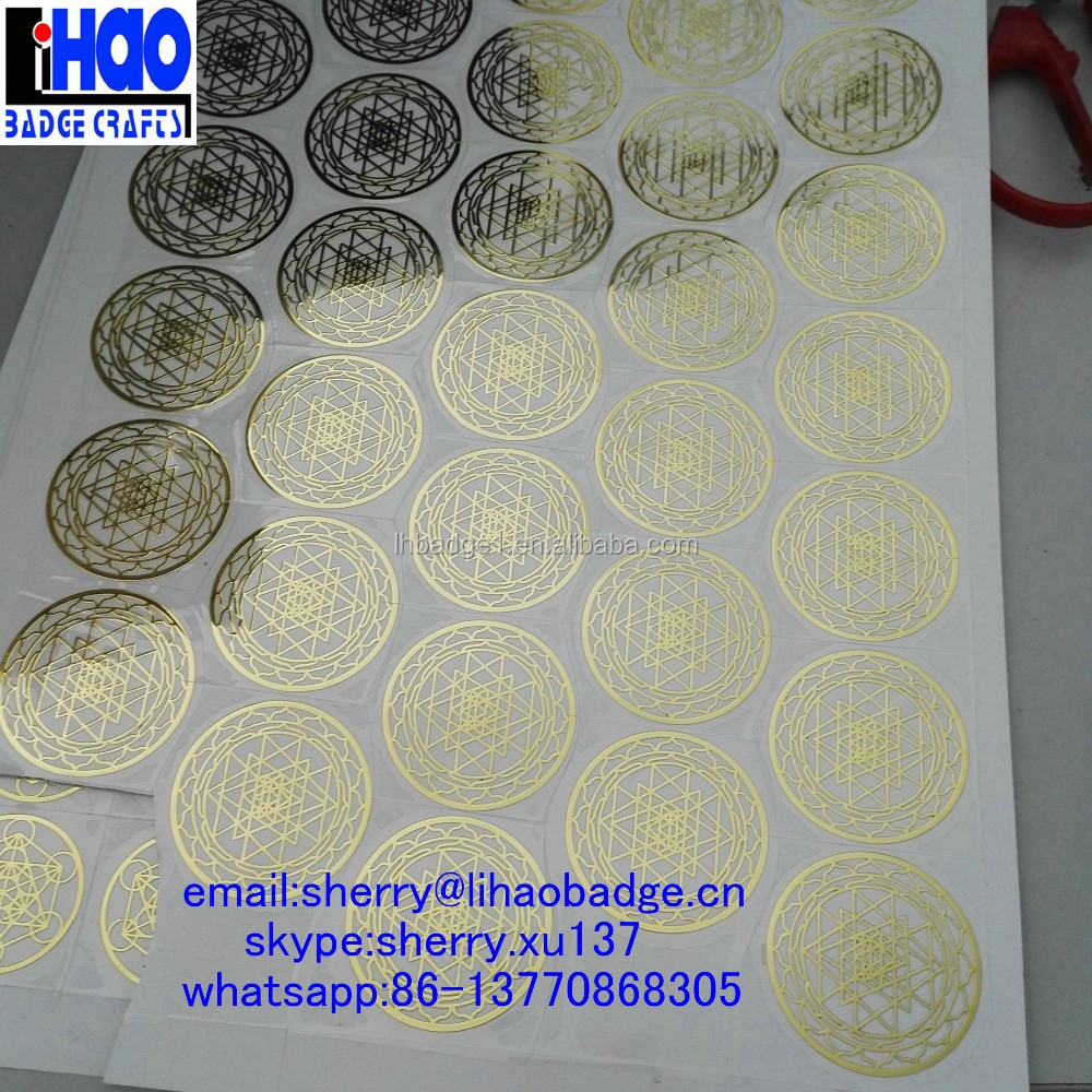 Custom thin metal logo nickel label sticker,electroforming nickel stickers,Gold Shree Yantra sticker