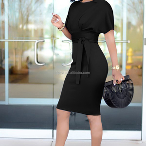 Short sleeve pure color office lady's dress o-neck bag hip women dress