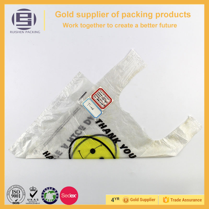 Wholesale vest carrier plastic bag with printing the smiling face