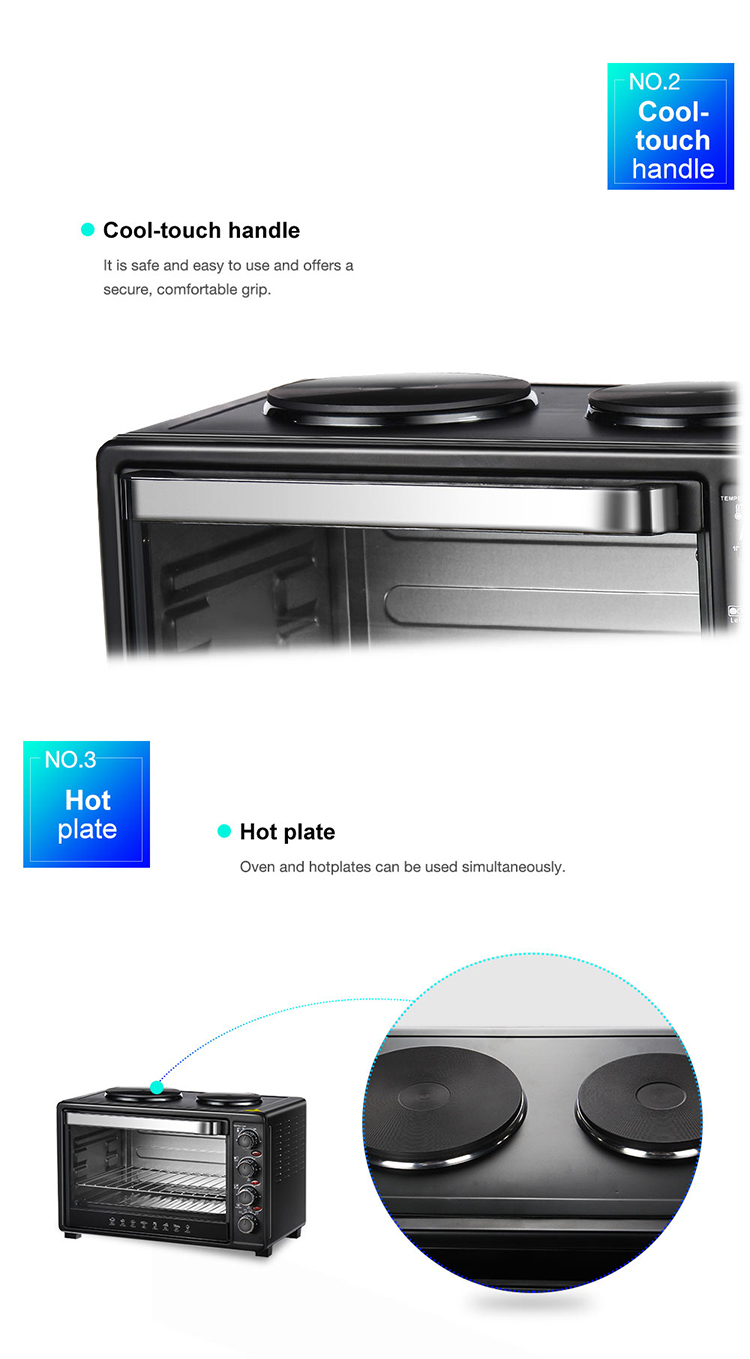 Kitchen appliance portable electric oven with two hot plate for cooking