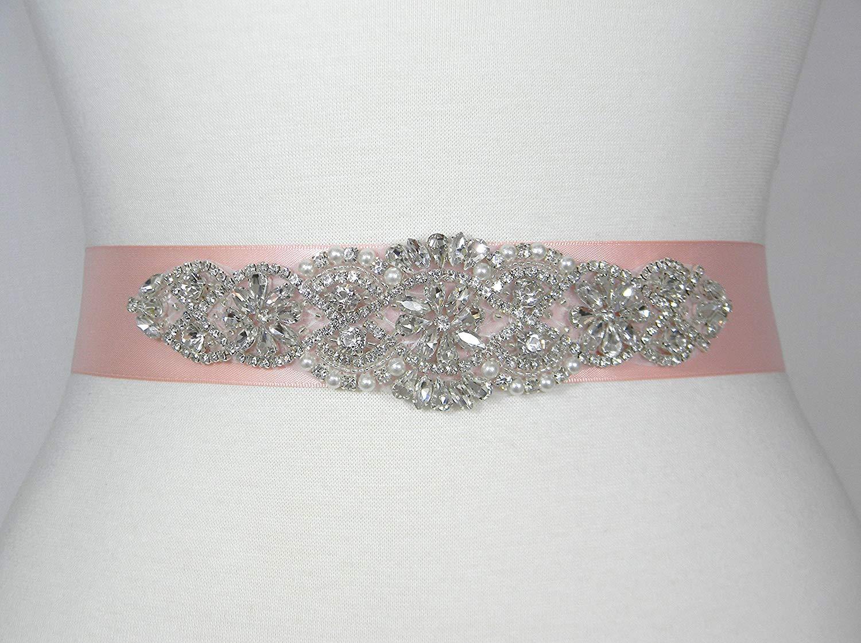 Wedding Belt, Blush Satin Bridal Belt, Bridal Sash, Bridesmaid Belt, Flower Girl Dress Sash, Pearl and Crystal Rhinestone Wedding Sash Belt, ALEXA