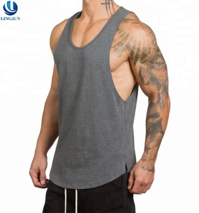 Custom Mens Gray Tank Top Summer Gym Casual Running Stringer Vest Fitness Singlets Long Clothing