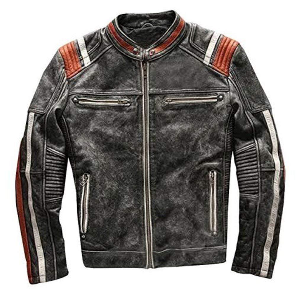 Retro 5 Biker Café Racer Vintage Biker Distress Leather jacket, Black motorbike Leather jacket, XXS-3XL