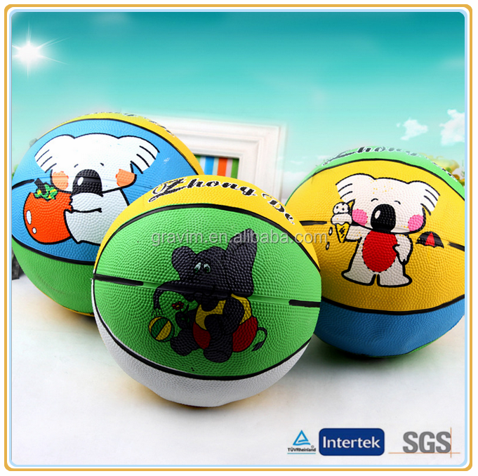 colorful printed cute rubber basketball ball