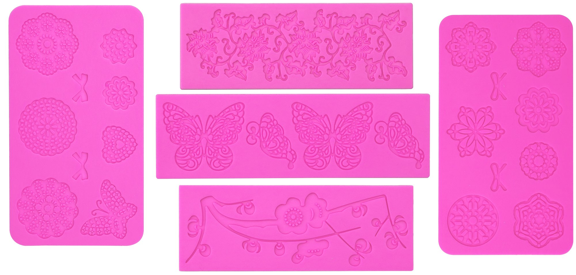 5pc Cake Decorating Molds- Premium Silicone Decoration Molds for Sugarcraft, Fondant, Gumpaste, Resin Mold , Lace Embossing Impression DIY Cake Fondant Decorating Mold -(set of 5)- Pink