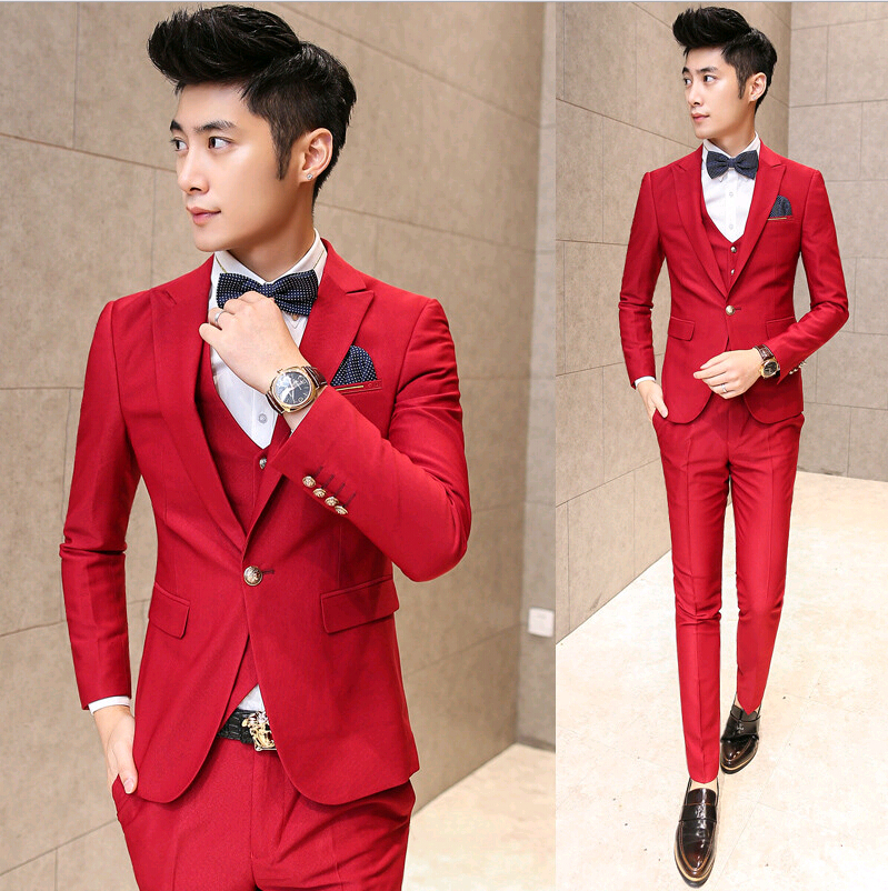 Mens Red Slim Fit Suit Dress Yy