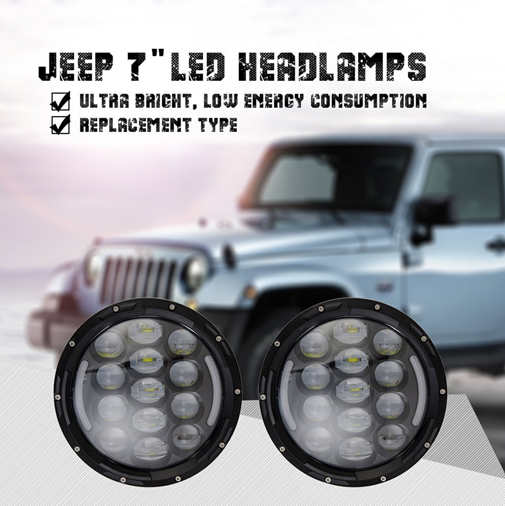 Moto Onfire LED Headlight for Jeep Wrangler Hummer(DOT 7 inch Round Projection Headlight, 85W H4 H/L Phillips; 2pcs)
