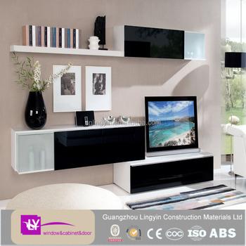 2017 Modular Plywood Carcass High Gloss Wall Cabinets Wooden TV Cabinet  Design