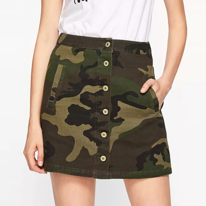 Hi Street Styles Buttons Up Camo Mini Skirt With Pockets