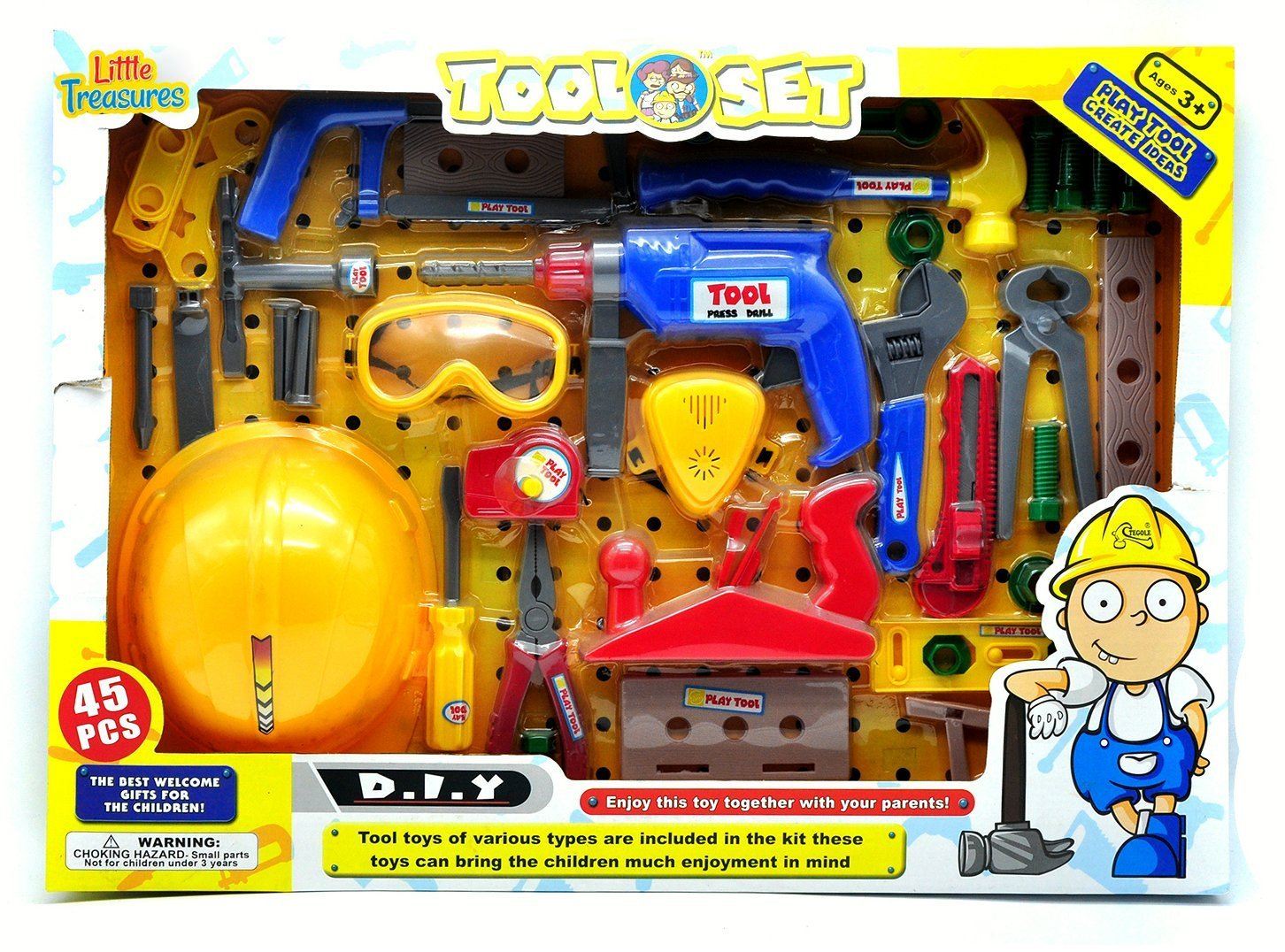 Little Treasures Deluxe Junior Tool Series 45 piece play Tools Set - create ideas tool play set with working friction drill toy for you little handyman fixer man helper