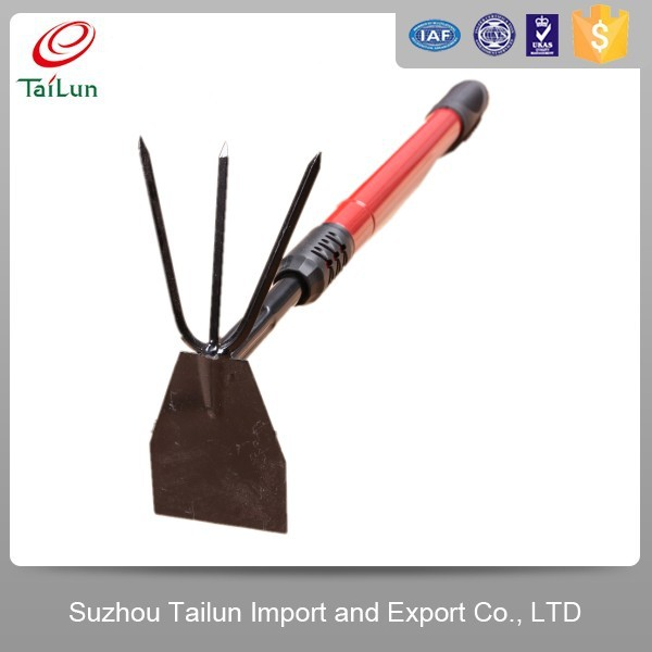 High Quality Red Plastic Coated Telescopic A3 Steel Garden Weed Hoe