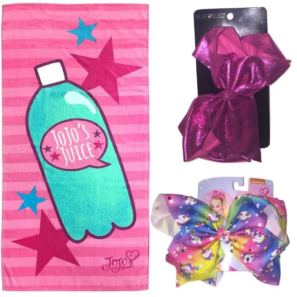 "Nickelodeon JoJo Siwa Jojo's Juice 28"" x 58"" Cotton Beach/Bath/Pool Towel, Pink/Purple & JoJo Siwa Giant Rainbow Unicorn Rhinestone Bow Hair Clip and Bejeweled pink Sparkle bow Bundle Gift"