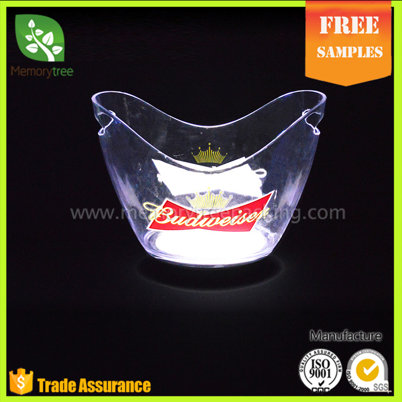 night club lighting illuminated rechargeable plastic led ice bucket