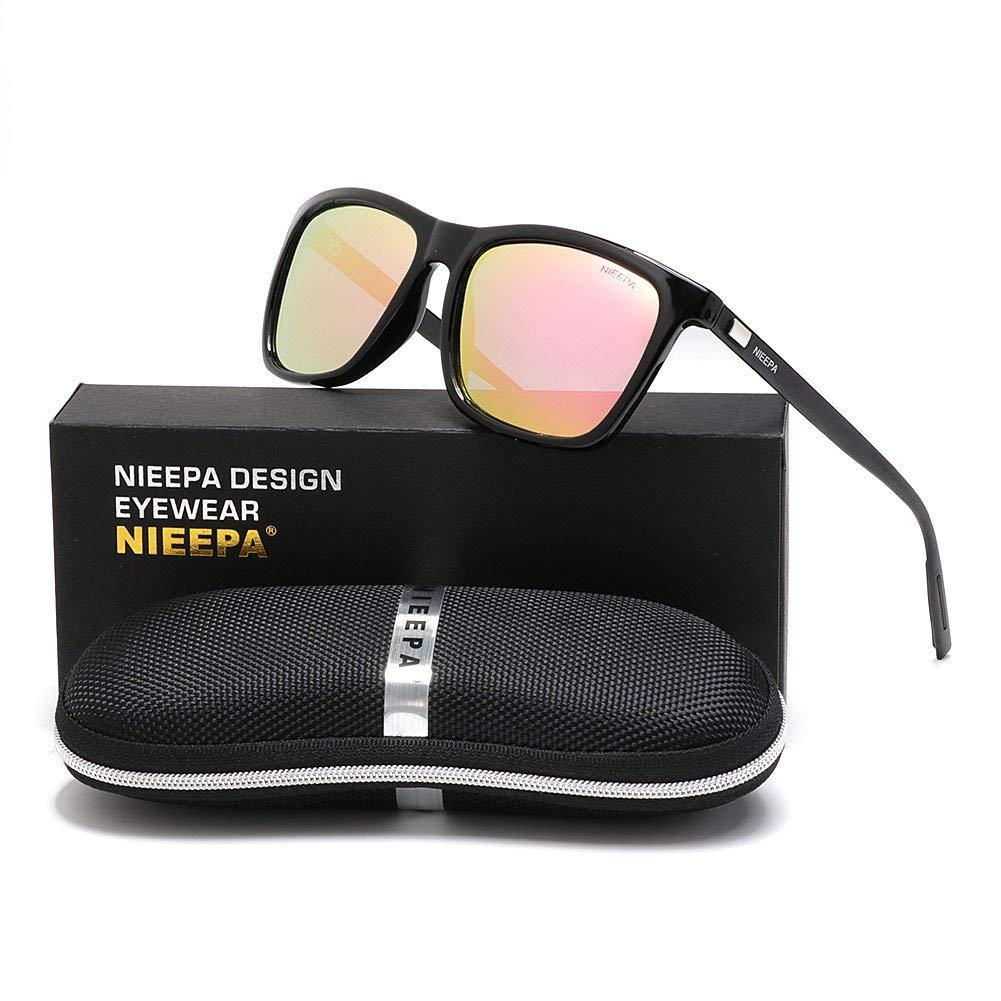ea84fe9f84 Get Quotations · NIEEPA Square Polarized Sunglasses Aluminum Magnesium  Temple Retro Driving Sun Glasses
