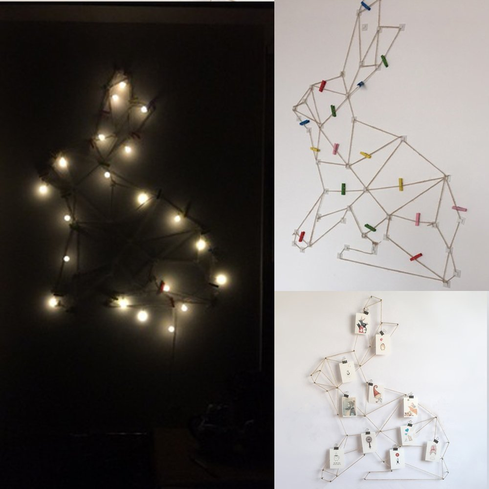 Creative DIY Photo Collage Display Wall Picture Show Geometric Shape Frames Hemp Rabbit For Hanging Picture Wall Decoration (Picture display Set with Light)