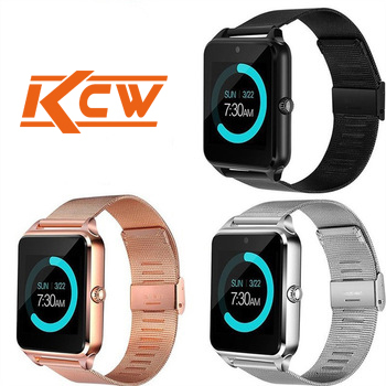 Creatway Manufacturer Z60 Shakeproof Super slim Android Smart Watch Phone with Pedometer BT Call metal band replaceable