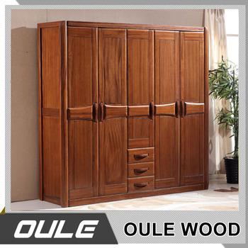 Wooden 5 Doors Wardrobe Clothes Closet Wardroble Door Design